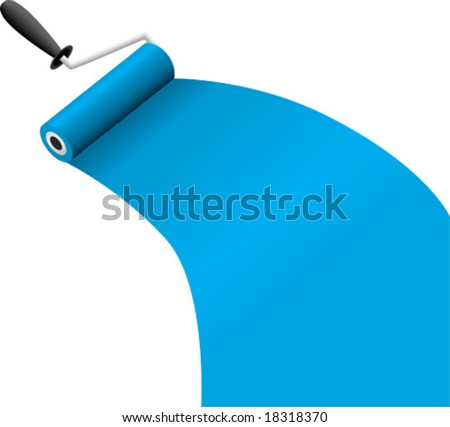 roller brush with blue paint vector illustration - stock vector