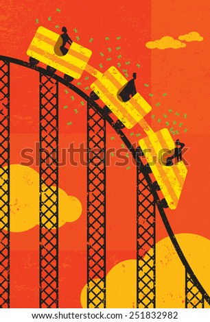 Roller coaster economy Business people losing money riding the roller coaster economy. The people & roller coaster and background are on separate labeled layers. - stock vector
