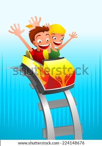 Roller coaster Game for kids cartoon vector illustration - stock vector