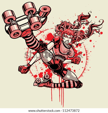 Roller Derby Girl - Flying Kick: Halftone Version. Vector illustration of a roller derby girl doing a flying kick toward camera. File was created using a halftone pattern for the shading (three color) - stock vector