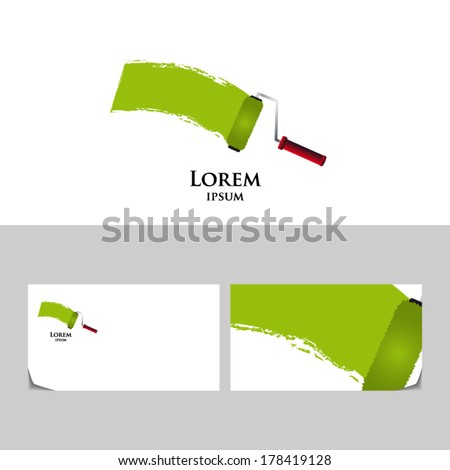 Roller painting icon design element business card stock vector roller paintingicon design element with business card template colourmoves