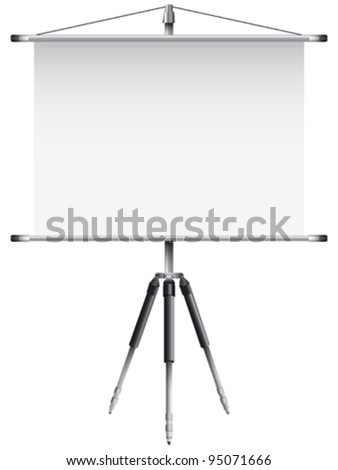 roller screen with tripod against white background, abstract vector art illustration; image contains transparency - stock vector