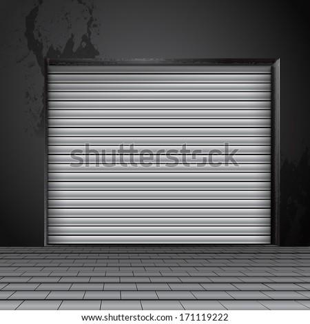 roller shutter door - stock vector