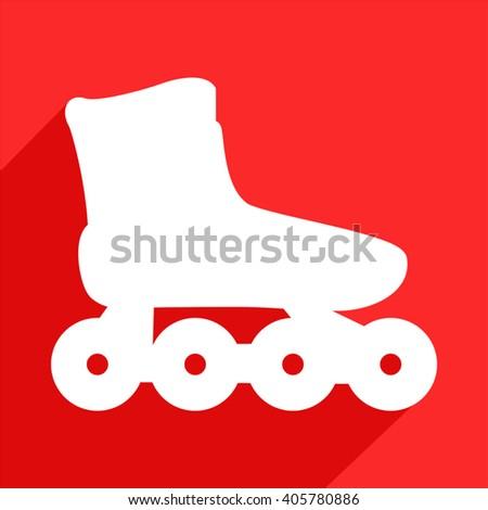 roller skate flat icon - stock vector