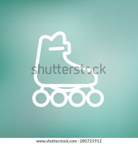 Roller skate icon thin line for web and mobile, modern minimalistic flat design. Vector white icon on gradient mesh background. - stock vector