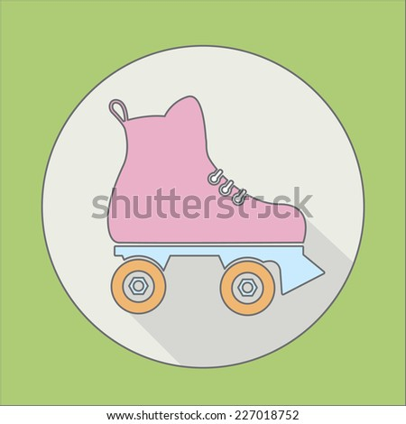 roller skate icon with a long shadow - stock vector