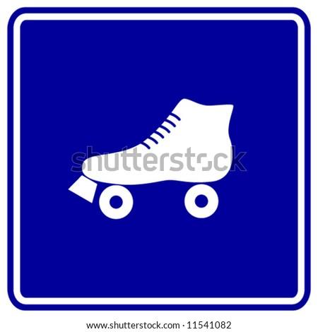 roller skate sign - stock vector