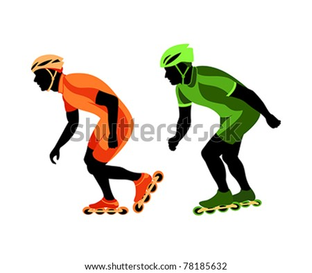 Roller skater silhouettes at the race - stock vector