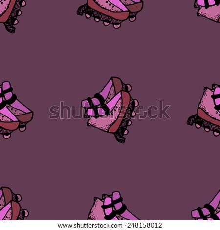 roller skates seamless illustration - stock vector