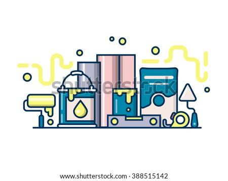 Roller, trowel paint design flat. Repair equipment, trowel and construction, roller instrument, vector illustration - stock vector