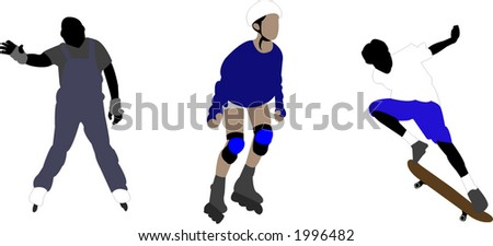 rollerblades and skateboard illustrations - stock vector
