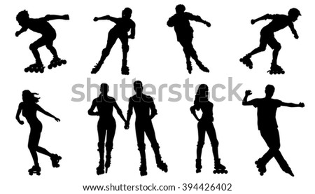 rollerskating silhouettes on the white background