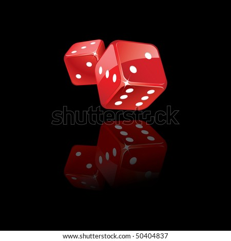 Rolling dices reflection - stock vector