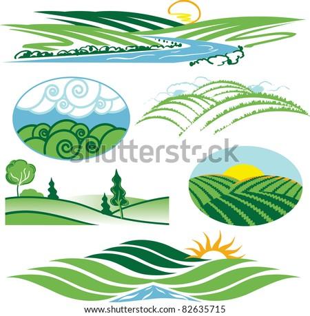 Rolling Green Hills - stock vector