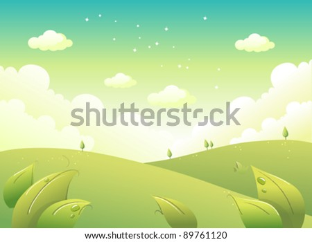 Rolling Landscape and Sky - stock vector