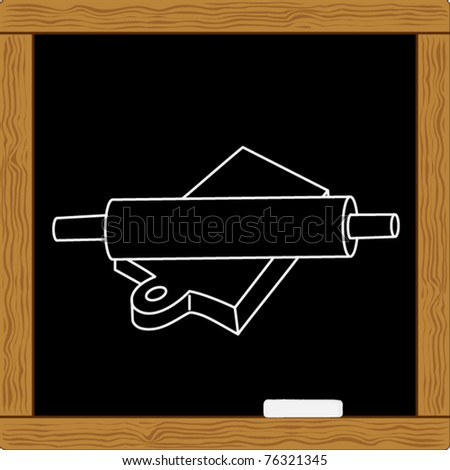 rolling pin and flour board - stock vector