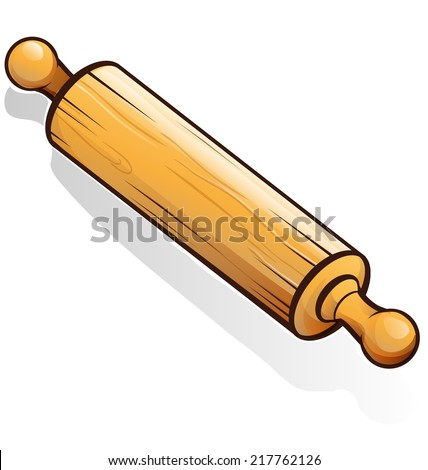 rolling pin cartoon isolated on white - stock vector
