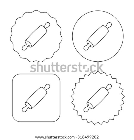 Rolling pin icon. Kitchen baker roller sign. Flat circle, star and emblem buttons. Labels design. Vector - stock vector