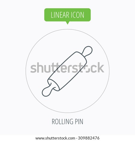 Rolling pin icon. Kitchen baker roller sign. Linear outline circle button. Vector - stock vector