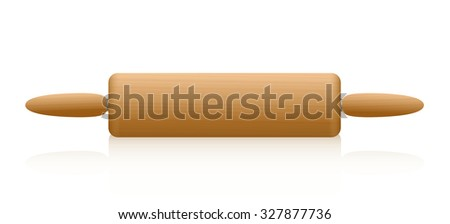 Rolling pin with wooden texture. Isolated illustration over white background. - stock vector