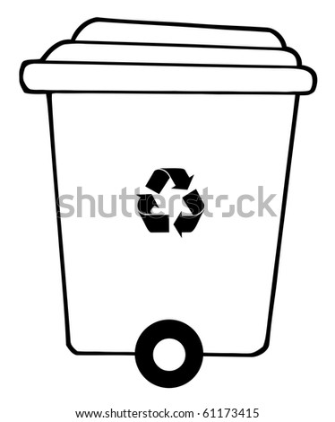 Rolling Plant Recycle Bin - stock vector