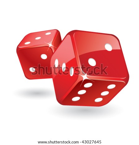 Rolling red glossy dices - stock vector