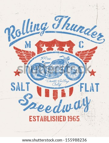 Rolling Thunder Vintage Motorcycle Graphic - stock vector