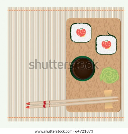 Rolls with stuffing in form of heart and chopsticks on straw cloth - stock vector