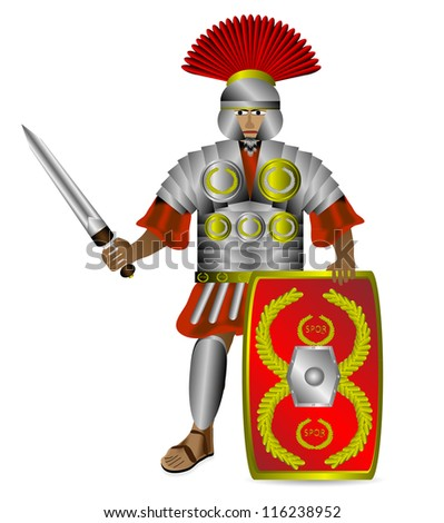 Roman centurion with shield and sword isolated on white background - stock vector
