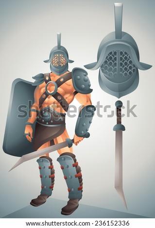 Roman Gladiator cartoon concept 2 - stock vector