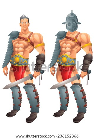 Roman Gladiator cartoon concept 1 isolated - stock vector
