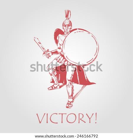 roman gladiator in defensive position. vector illustration - stock vector