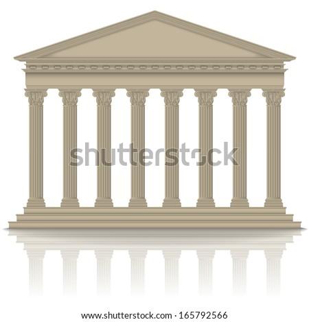 Roman/Greek pantheon with Corinthian columns, high detailed - stock vector