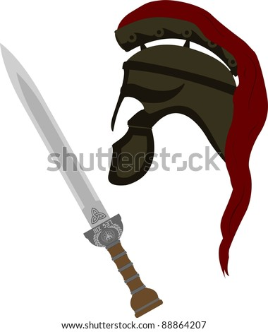 roman helmet and sword. vector illustration - stock vector