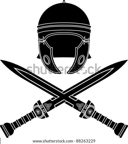 roman helmet and swords. second variant. stencil. vector illustration - stock vector