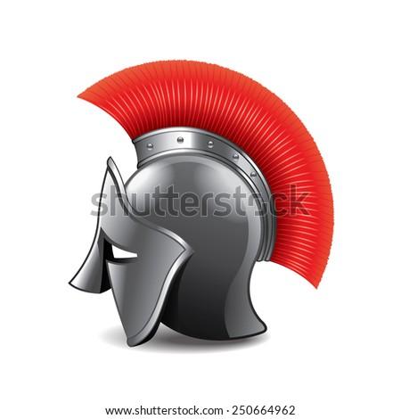 Roman helmet isolated on white photo-realistic vector illustration - stock vector