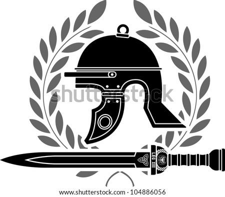 roman helmet stencil  fourth variant  vector illustration - stock vector
