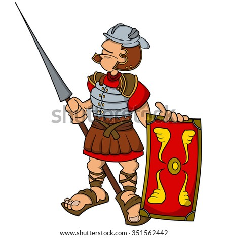Roman legionary with a spear and a shield. Cartoon world warriors series.