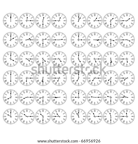 Roman Numeral Clocks Showing All Twelve Hours at Fifteen Minute Intervals - stock vector