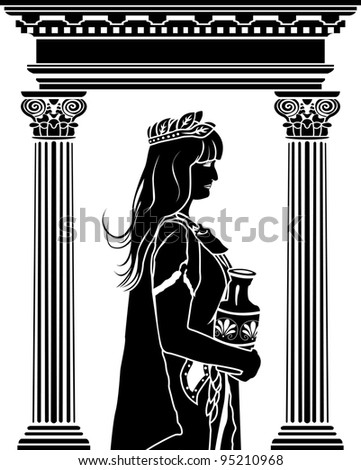 Roman patrician woman with arch on background stencil - stock vector