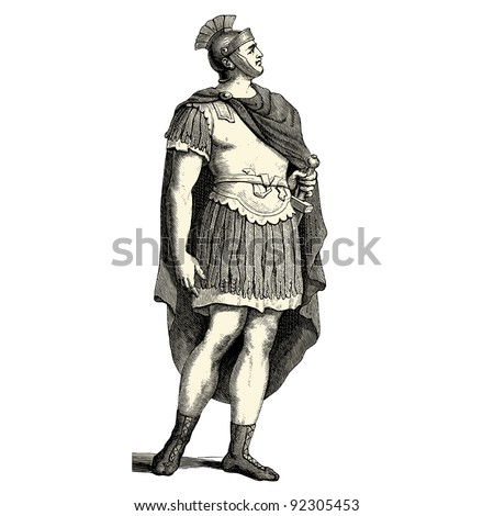 "Roman soldier- vintage engraved illustration - ""Costumes anciens et modernes "" by Cesare Veccello ed.Firmin-Didot  in 1859 - Paris - stock vector"