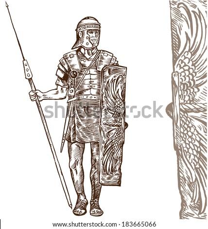 roman warrior hand draw on white background - stock vector