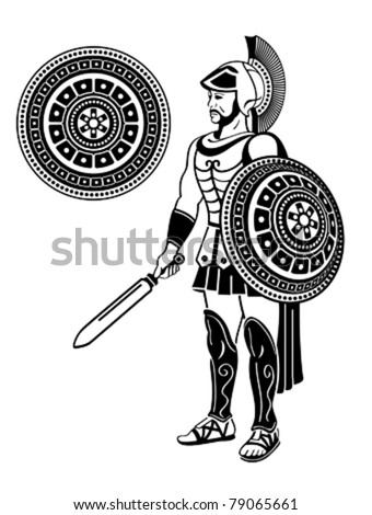 Roman warrior with sword and decorated shield - stock vector