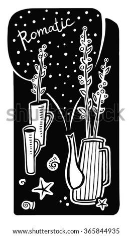 Romance Black White Still Life Seashells Stock Vector 365844935