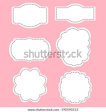 Romance white labels on pink background  - stock vector