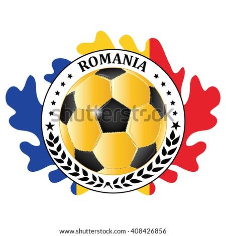 Romania 2016 Football Team Sign Containing A Soccer Ball And The Romanian Flag Print