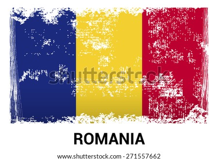 Romania grunge flag isolated vector in official colors and Proportion Correctly. country's name label in bottom. Vector Illustration - stock vector
