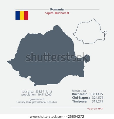 Romania isolated maps and official flag icon. vector Romanian political map icons with general information. European State geographic banner template. travel and business concept vector - stock vector