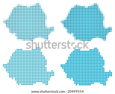 Romania map mosaic set. Isolated on white background. - stock vector