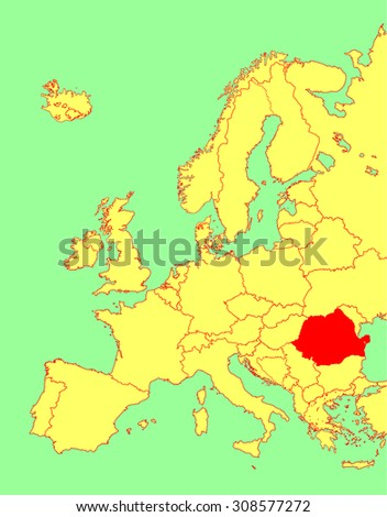 Romania vector map, Europe, vector map silhouette illustration isolated on Europe map. Editable blank vector map of Europe.  - stock vector